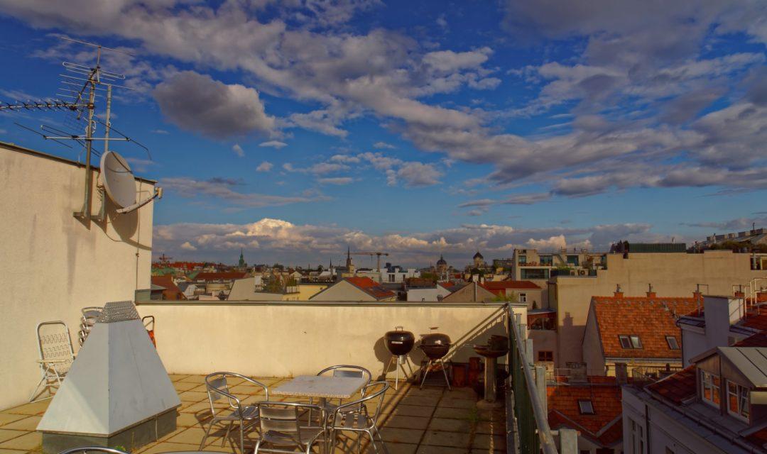 Studentenhaus Neustiftgasse 83 Dachterrasse mit toller Aussicht