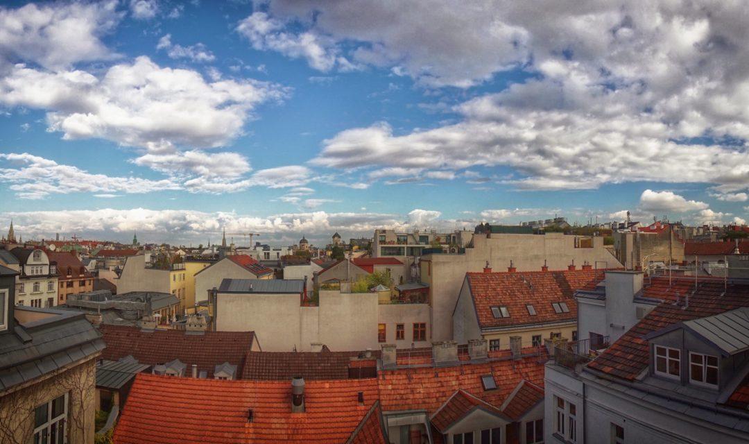 Studentenhaus Neustiftgasse 83 Dachterrasse Blick auf die City